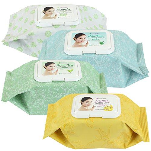 Kareway Epielle surtido removedor de maquillaje limpieza toallitas húmedas, 60 cuentas (paquete de 4)