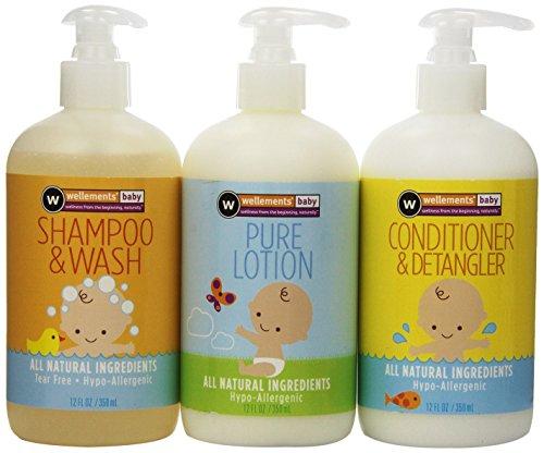 Wellements higiene esenciales para bebé Shampoo, acondicionador y loción, cuenta 3