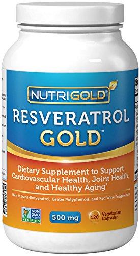Nutrigold Resveratrol oro (Resvinol + polifenoles de uva), 500 mg, 120 cápsulas vegetales
