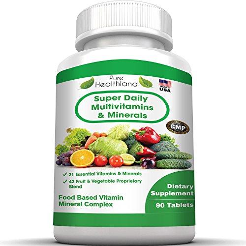 Multivitamina Super hombres mujeres mayores de 50 y mayores. Mejor comida base Natural suplemento multivitamin con 21 vitaminas y minerales además de mezcla patentada de 42 frutas verduras alimentos Super