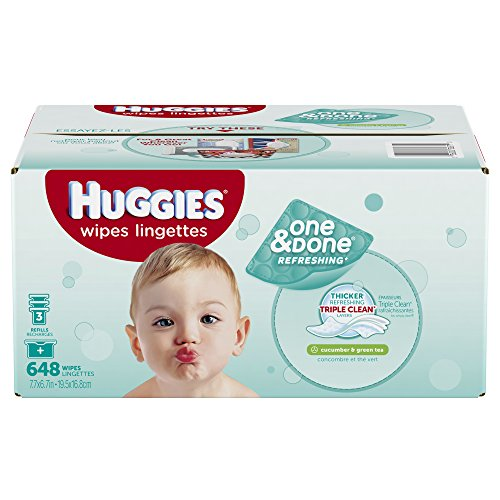 Huggies una & hecho refrescante bebé toallitas Refill, pepino y té verde, cuenta 648 (embalaje puede variar)