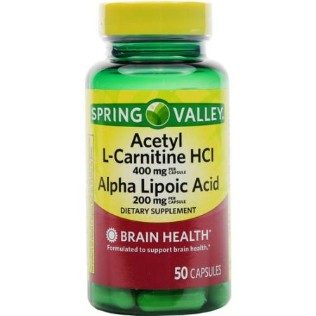 Spring Valley cápsulas de suplementos dietéticos Acetil L-Carnitina HCl ácido alfa lipoico 50 recuento