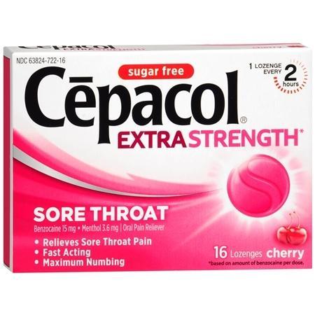 Cepacol el dolor de garganta alivio del dolor pastillas sin azúcar cereza 160 EA (paquete de 1)