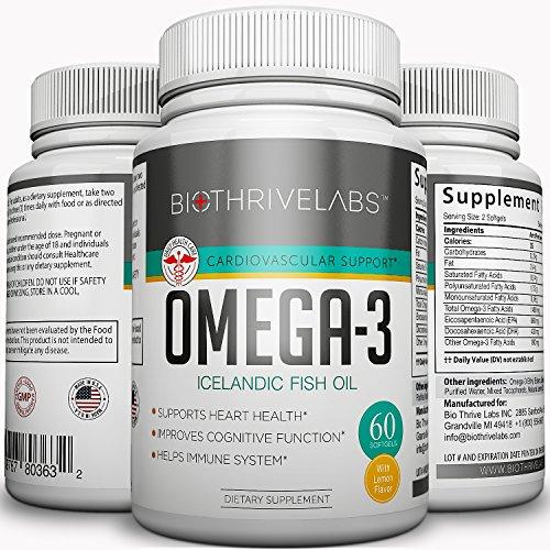 Puro pescado de Omega-3 aceite pastillas - 60 cápsulas con alto contenido en ácidos de grasos esenciales EPA y DHA. Fortalece el corazón, mejora la función cognoscitiva, estimula sistema inmunitario sin efectos secundarios! Vida larga y saludable! Devoluc