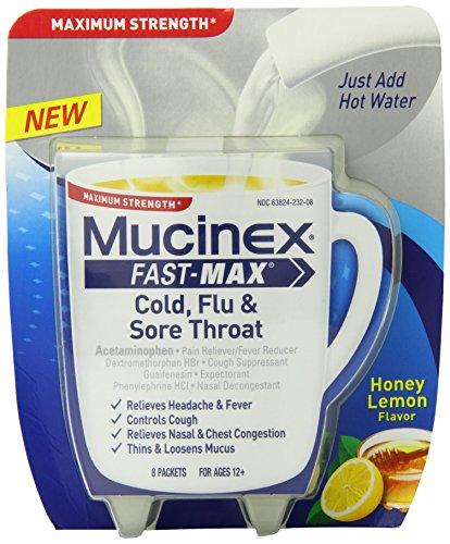 Mucinex rápido-Max bebida caliente mezcla medicina, resfriado, gripe y alivio de dolor de garganta, sabor a limón, la miel cuenta 8