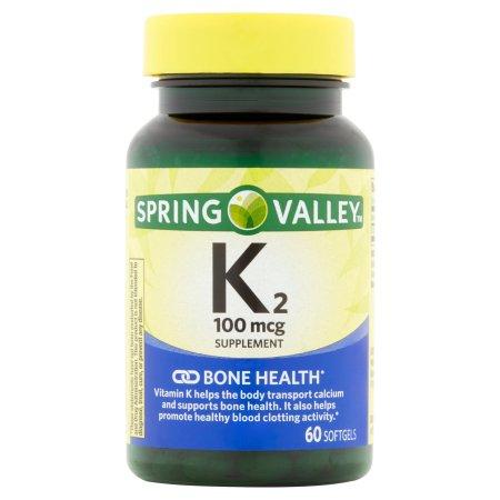 Spring Valley La vitamina K2 Cápsulas suplemento dietético, 100 mcg, 60 conteo