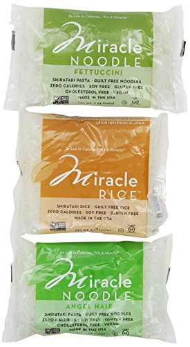 Shirataki Pasta fideos milagro, 6 bolsa paquete de variedad, 44 onzas (incluye: 2 cabello de Ángel de Shirataki, 2 arroz de Shirataki y 2 Shirataki fetuccini)
