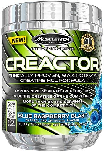 MuscleTech Creactor, creatina HCL polvo de máxima potencia, explosión de frambuesa azul, 120 raciones, 9,32 onzas (264)