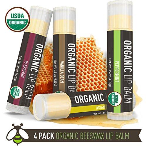Labios bálsamo - Pack 4 - La Lune Naturals USDA certificado orgánico Lip Balm, bálsamo labial de cera de abejas Natural - vainilla, frambuesa, pera asiática, menta - MADE IN USA - mejor bálsamo de labio para niños y bebés