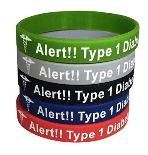 Tipo 1 diabetes tipo pulseras insulina dependiente alerta médica (paquete de 5) verde, gris, azul, rojo, negro más bono Wellness artículo incluido