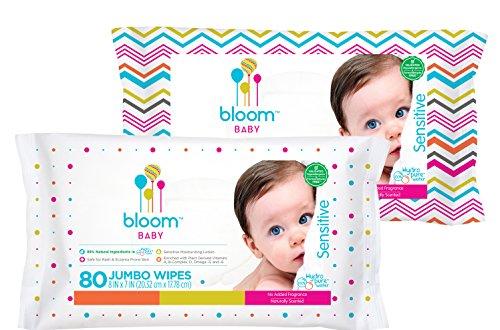 floración + tipo Jumbo sensibles bebé toallitas sin perfume, conteo de 80
