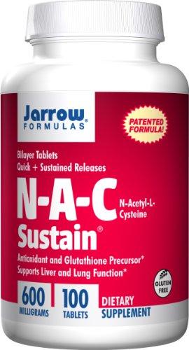 Jarrow Formulas N-A-C sostener, soportes de hígado y la función pulmonar, 600 mg, 100 fichas de Sustain