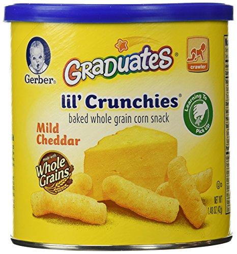 Gerber graduados de Lil' Crunchies, Cheddar suave, botes de 1,48 onzas (paquete de 6)