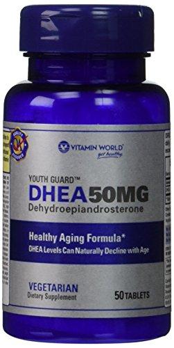 Protector de vitamina mundial de la juventud DHEA Dehidroepiandrosterona 50 mg (50 comprimidos)