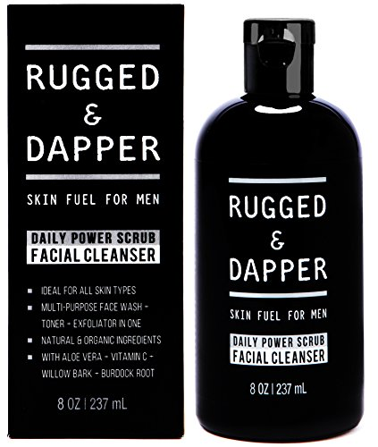 Diario energía Facial limpiador para lavado de cara de los hombres - 8 OZ - energizante Toner + exfoliante Scrub All-In-One - Natural y certificada ingredientes orgánicos