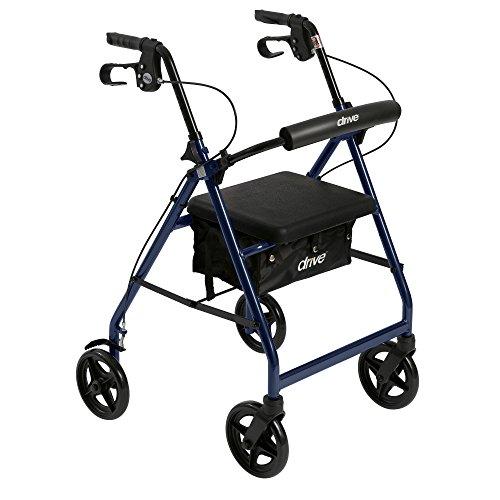 Unidad médica aluminio andador Walker se pliegan y respaldo desmontable, asiento acolchado, ruedas de 7.5