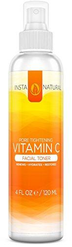 Tónico Facial de vitamina C - 100% Natural y orgánico Anti envejecimiento poro Minimizer para la cara - con Hamamelis, Aloe Vera y MSM - nutre e hidrata la piel - ideal para todo tipo de piel - InstaNatural - 4 OZ