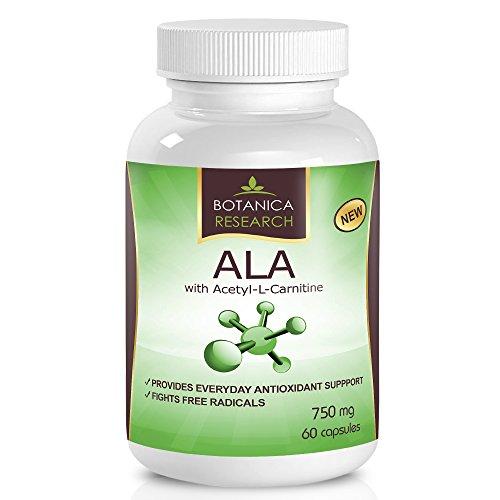 El ácido alfa lipoico con el acetil L carnitina - Anti envejecimiento fórmula de la salud y bienestar con ALA y ALC suplemento antioxidante energía aumentar y dar fatiga alivio 60 complejo vitamínico cápsulas
