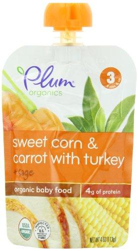 Plum Organics Baby etapa 3 comidas, maíz dulce, zanahoria con Turquía y salvia, 4 onzas (paquete de 6)