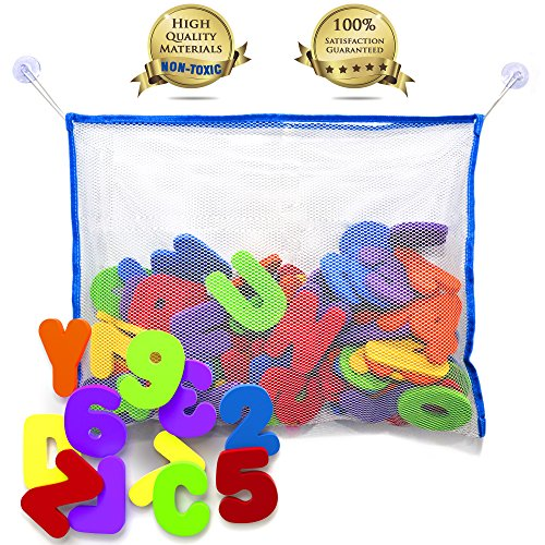 Baño de letras y números con organizador de juguetes de baño. Los mejores juguetes educativos baño con letras de espuma libre de almacenamiento de juguetes de baño de primera calidad y BPA no tóxico. El regalo perfecto con bono niño cuidado E Guía
