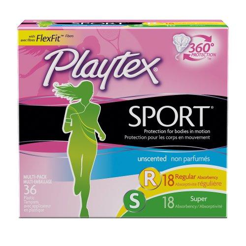 Playtex Sport apósito Multipack, absorbencia Regular/Super Unscented, cuenta 36
