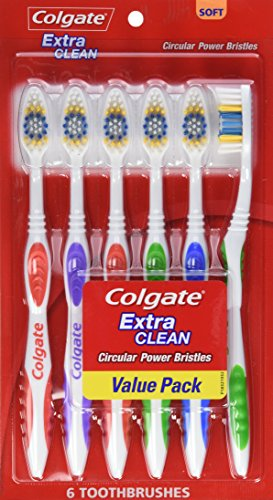 Colgate Extra Clean cepillo de dientes, cabeza, suave, cuenta 6