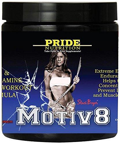 Suplemento pre entrenamiento para mujeres y hombres - Motiv8 250g - BCAA y glutamina para la recuperación y resistencia mejor de - Staci Boyer Motiv8 Fruit Punch Preworkout y Intra entrenamiento fórmula - aminoácido Mix de energía