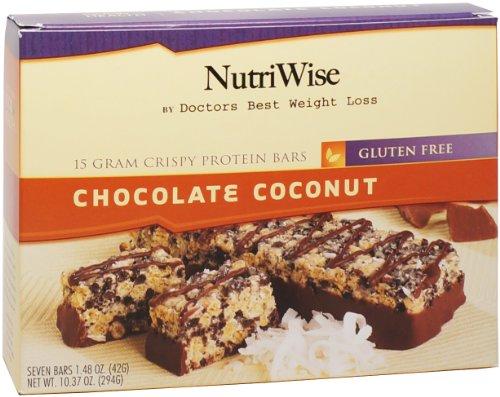 NutriWise - barras de Chocolate coco crujiente dieta proteína (7 bares)