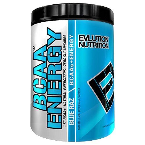 Nutrición Evlution BCAA energía - alto rendimiento, energizante suplemento de aminoácidos para crecimiento muscular, recuperación y resistencia (40 porciones) (Raz azul)