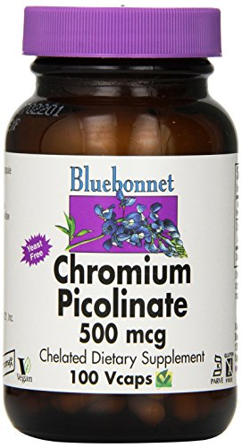 BlueBonnet cromo picolinato vegetariana cápsulas, 500 mcg, cuenta 100