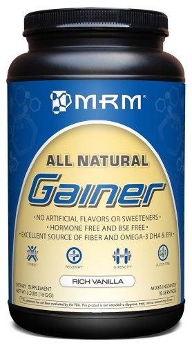 MRM Natural Gainer, rico vainilla, 3,3 libras tina