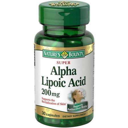 Nature's Bounty cápsulas de suplementos dietéticos Súper ácido alfa lipoico 200 mg 30 conteo