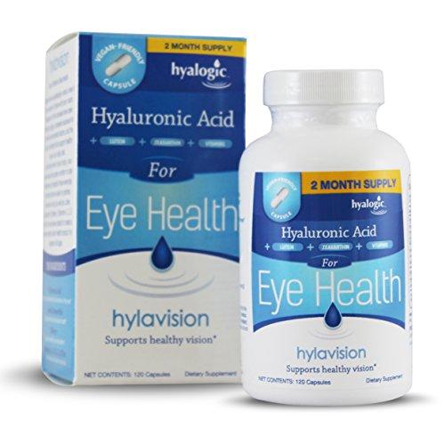 Hyalogic HylaVision - apoya una visión saludable con ácido hialurónico - luteína - zeaxantina - Extracto de arándano - vitamina A, C y E - Zinc-All Natural HA - 120 cápsulas