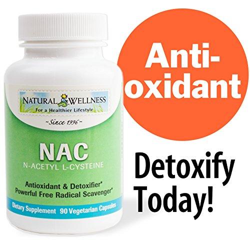 Natural Wellness Nac, n-acetil L-cisteína, vegetariano de 90 500 mg cápsulas - antioxidante clave y Precursor de glutatión