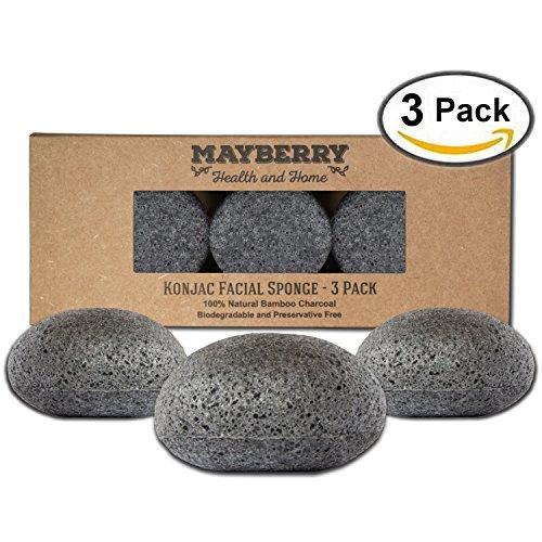 Konjac Esponja con carbón de bambú - 3 Pack - 100% Natural carbón cara esponja para mejorar la apariencia de la piel - cara esponja carbón con adjunto cadena para colgar al seco exfoliadora