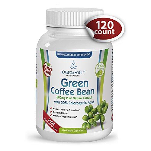 Puro verde extracto de grano de café con 50% CGA - mg/Cápsula de 800 - 1600 mg por porción (2 cápsulas/día) - 120 cápsulas