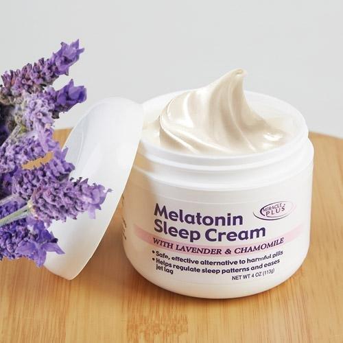 Crema de noche de sueño melatonina con lavanda y manzanilla