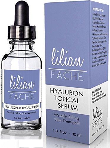 Ácido hialurónico para una piel sana por Lilian Fache - tópico arrugas borrado suero Hyaluron - 100% ácido hialurónico puro - suero de calidad más alto para reponer el colágeno, vitaminas e hidratar - fórmula Facial mejor anti-envejecimiento que reduce la