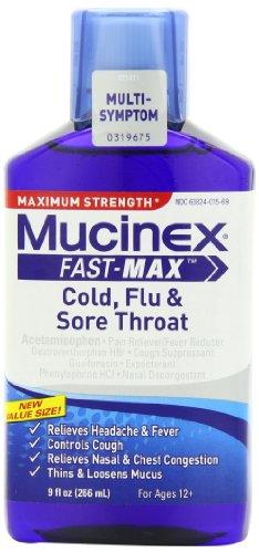 Mucinex rápido-Max frío, gripe y dolor de garganta líquido, adultos 9 oz