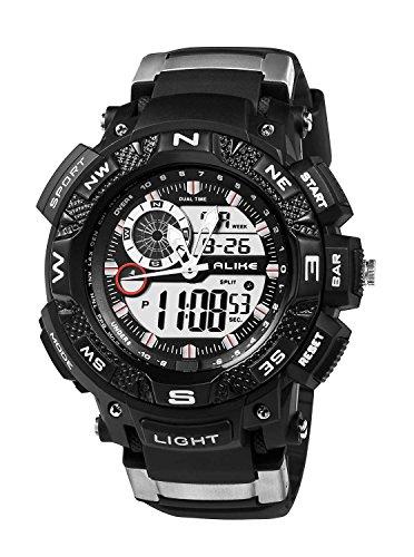 BBD-AK1389B Digital-analógico reloj caucho negro versátil correa resistente al agua ECOOPRO ® hombres Sport