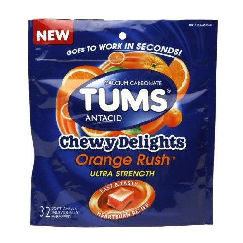 Tums delicia masticable 1177mg naranja Rush 32 tabletas masticables
