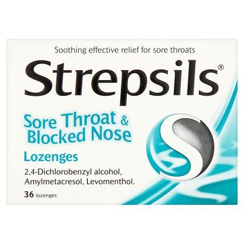 Strepsils dolor de garganta y nariz tapada 36 pastillas