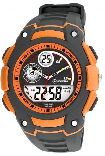 OUANGANC a prueba de agua Digital analógico niños niñas deporte reloj Digital Alarma Cronómetro Cronógrafo (naranja)