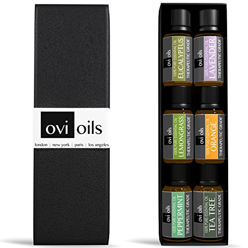 Set de regalo de aromaterapia aceites esenciales - 100% puro grado terapéutico garantizado - Premium 6 (menta, lavanda, naranja, eucalipto, hierba de limón, árbol del té) - #1 galardonado Ultra fina calidad