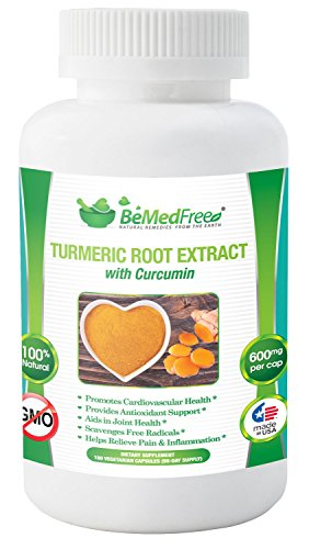 BeMedFree.com cúrcuma extracto cápsulas con curcumina y BioPerine, 1200 mg (180-cuenta)