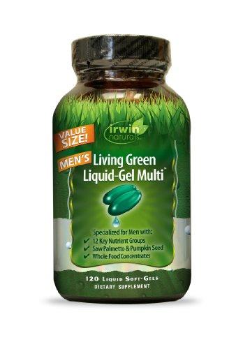 Irwin Naturals Living verde Multi Liquid-Gel para hombres, 120 cuenta