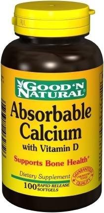 Calcio absorbible - con vitamina D, 100 cápsulas,(Good'n Natural)