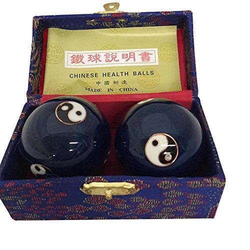 Salud China bolas de Baoding masaje bolas de estrés de ejercicio-YinYang azul #2