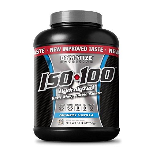 Dymatize ISO 100 Post entrenamiento y recuperación suplementos, Gourmet vainilla, 5 libras
