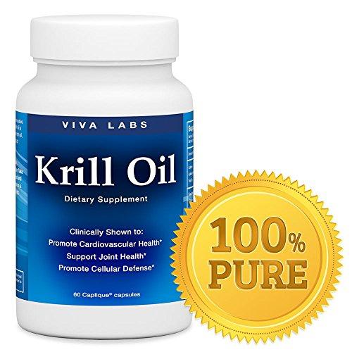 Viva laboratorios aceite de Krill: 100% aceite puro de Krill antártico - niveles más altos de Omega-3 en la industria, 1250mg/porción, 60 Capliques